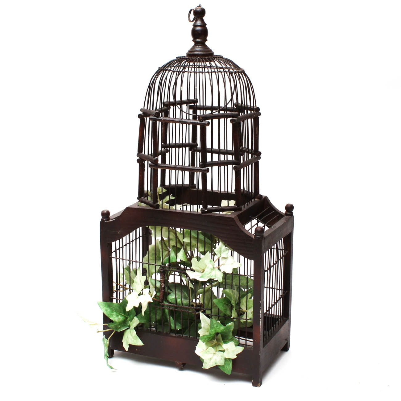 Decorative Victorian Style Wooden Birdcage with Faux Plants