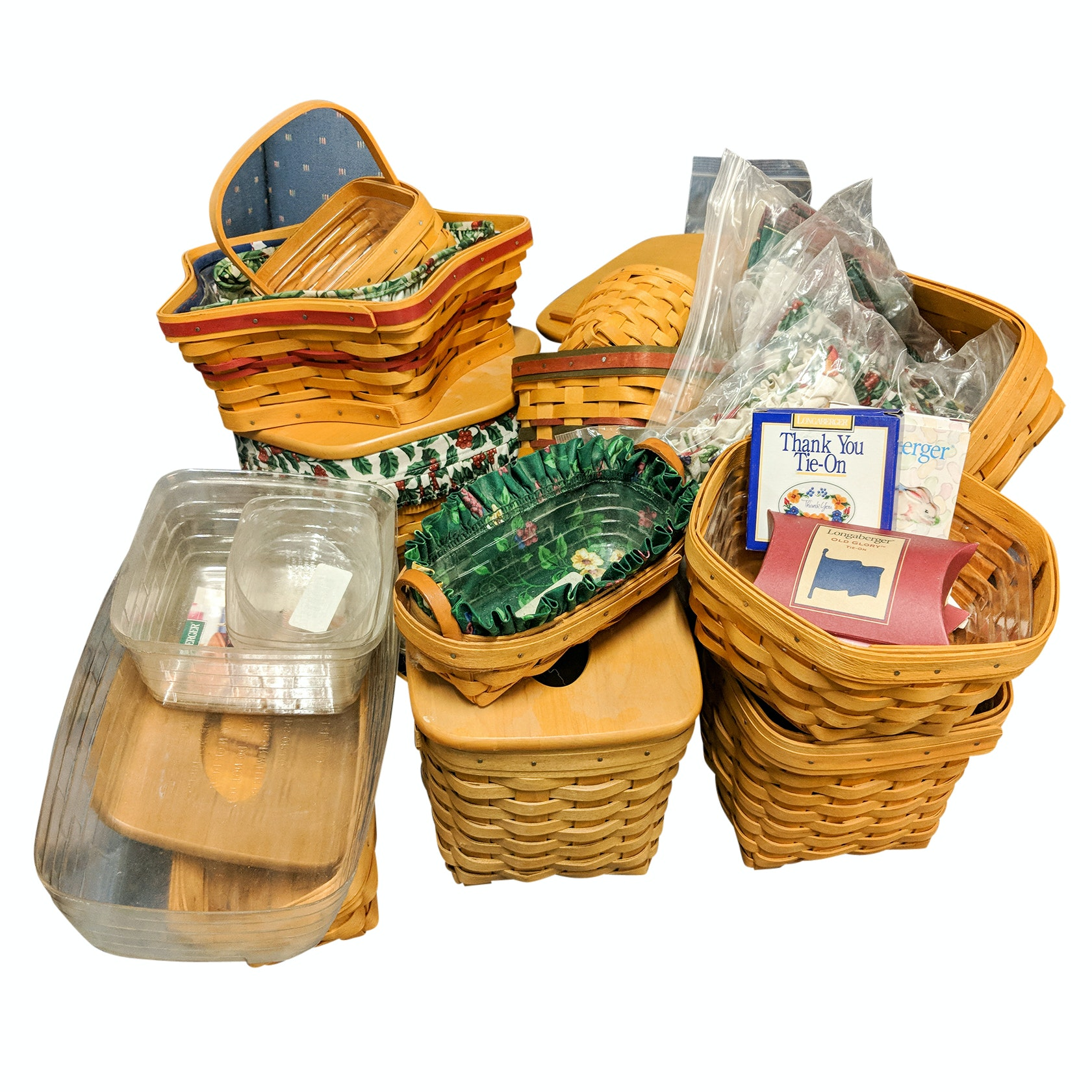 Longaberger Handwoven Baskets, Tags and Liners