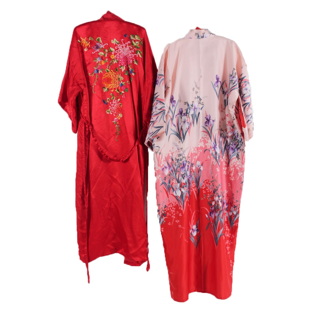 Vintage Chinese Embroidered Robe and Japanese Kimono Style Robe