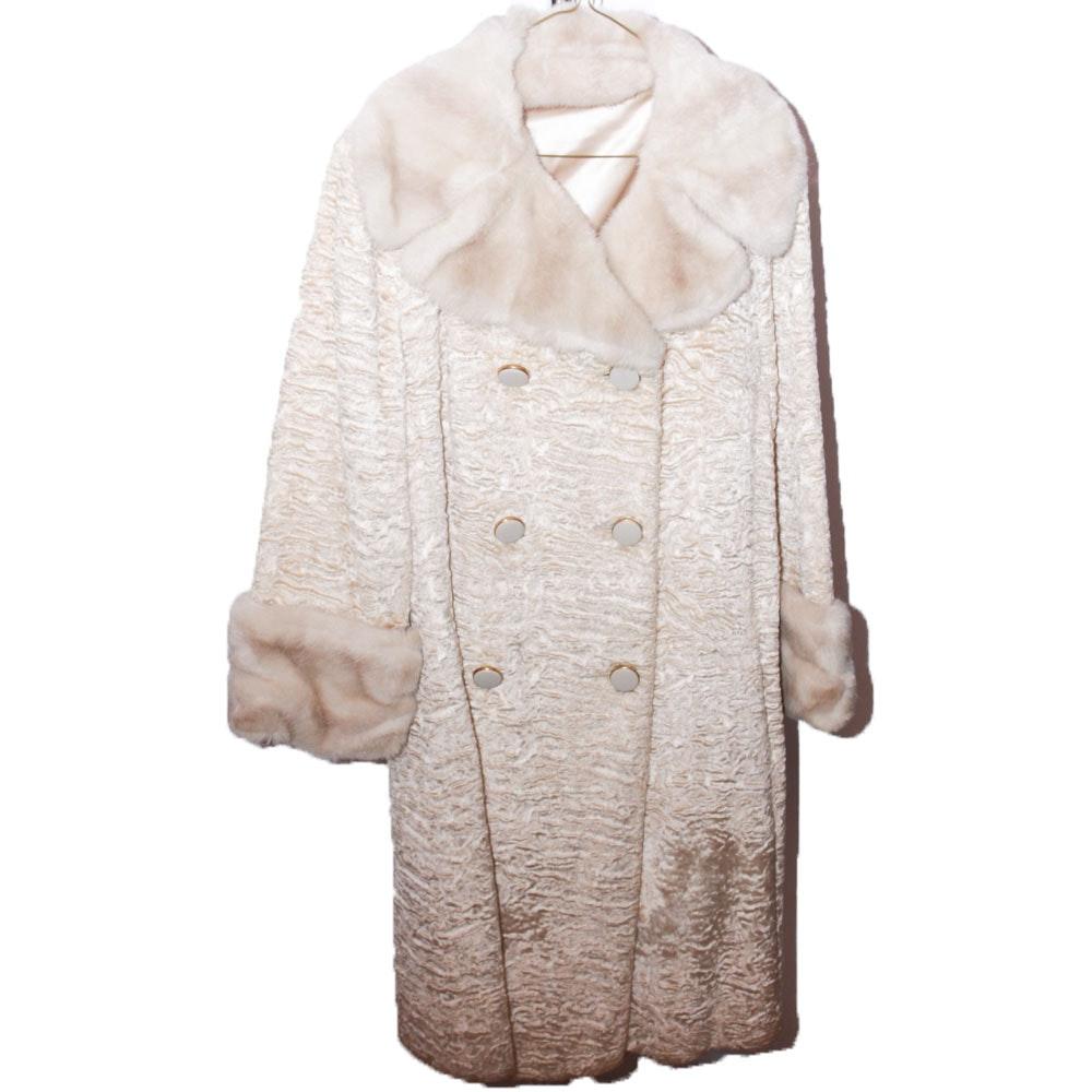 1950s Vintage Faux Broadtail Lamb Fur Coat