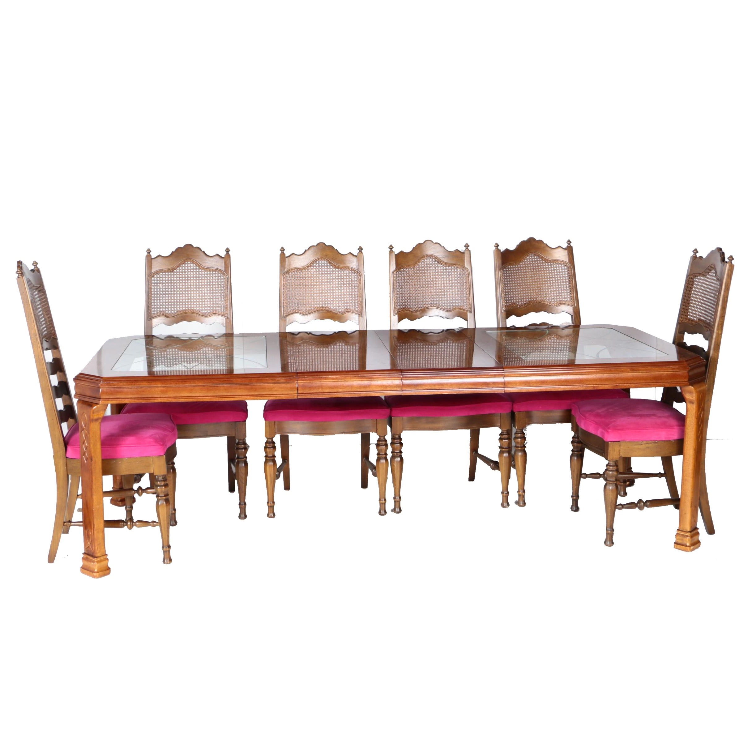 Vintage Mediterranean Style Dining Table with Side Chairs