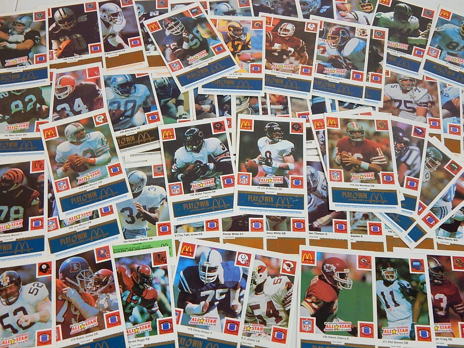 1986 McDonalds All-Star Team and Team Football Cards - Marino, Montana, Payton