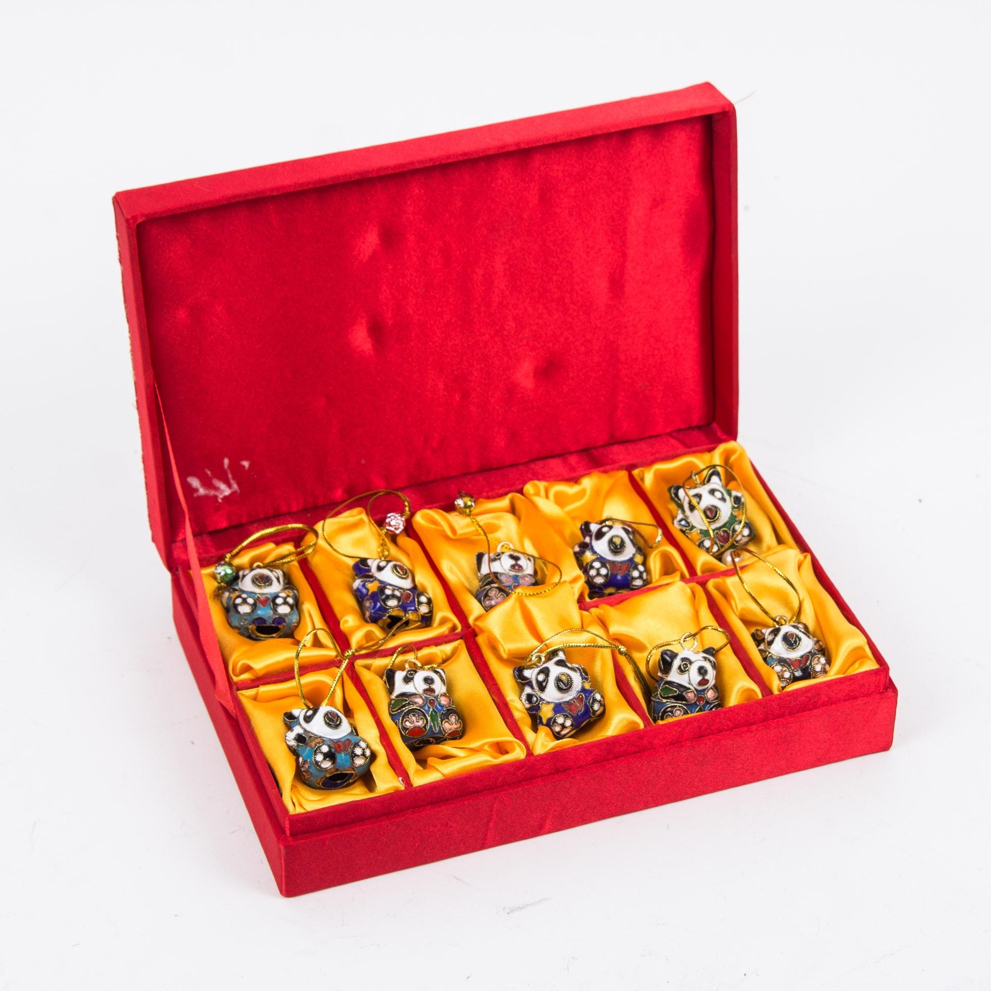 Cloisonné Miniature Panda Ornaments