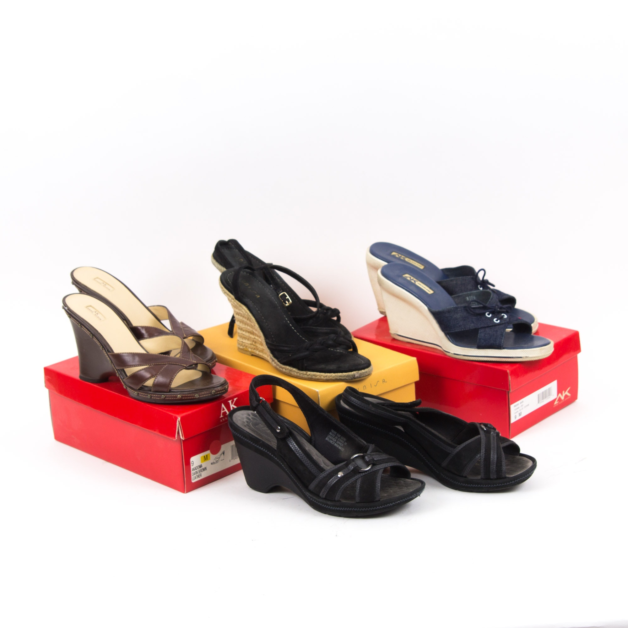 Four Pairs of Women's Wedges Including Unisa, Anne Klein, and Clarks