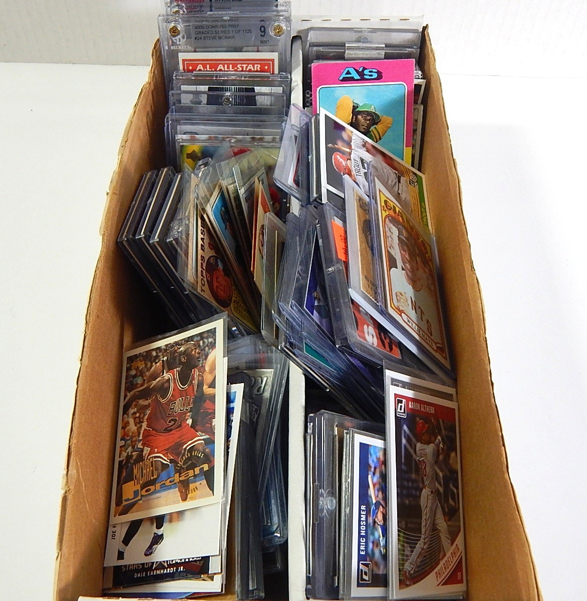 Box of Sports Cards from 1960s thru 2000 with 1972 Topps Willie Mays