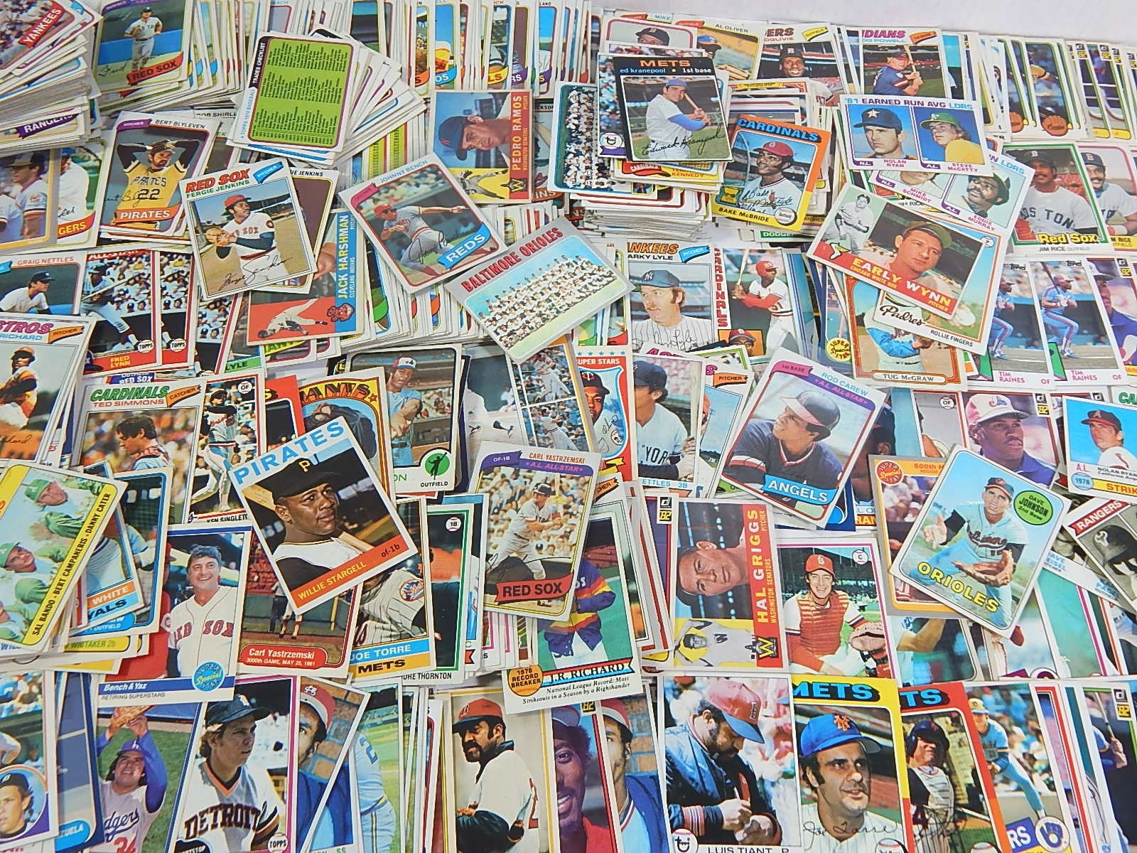 Around 800 Vintage Baseball Cards from 1960's through 1980's with Wynn,Carew