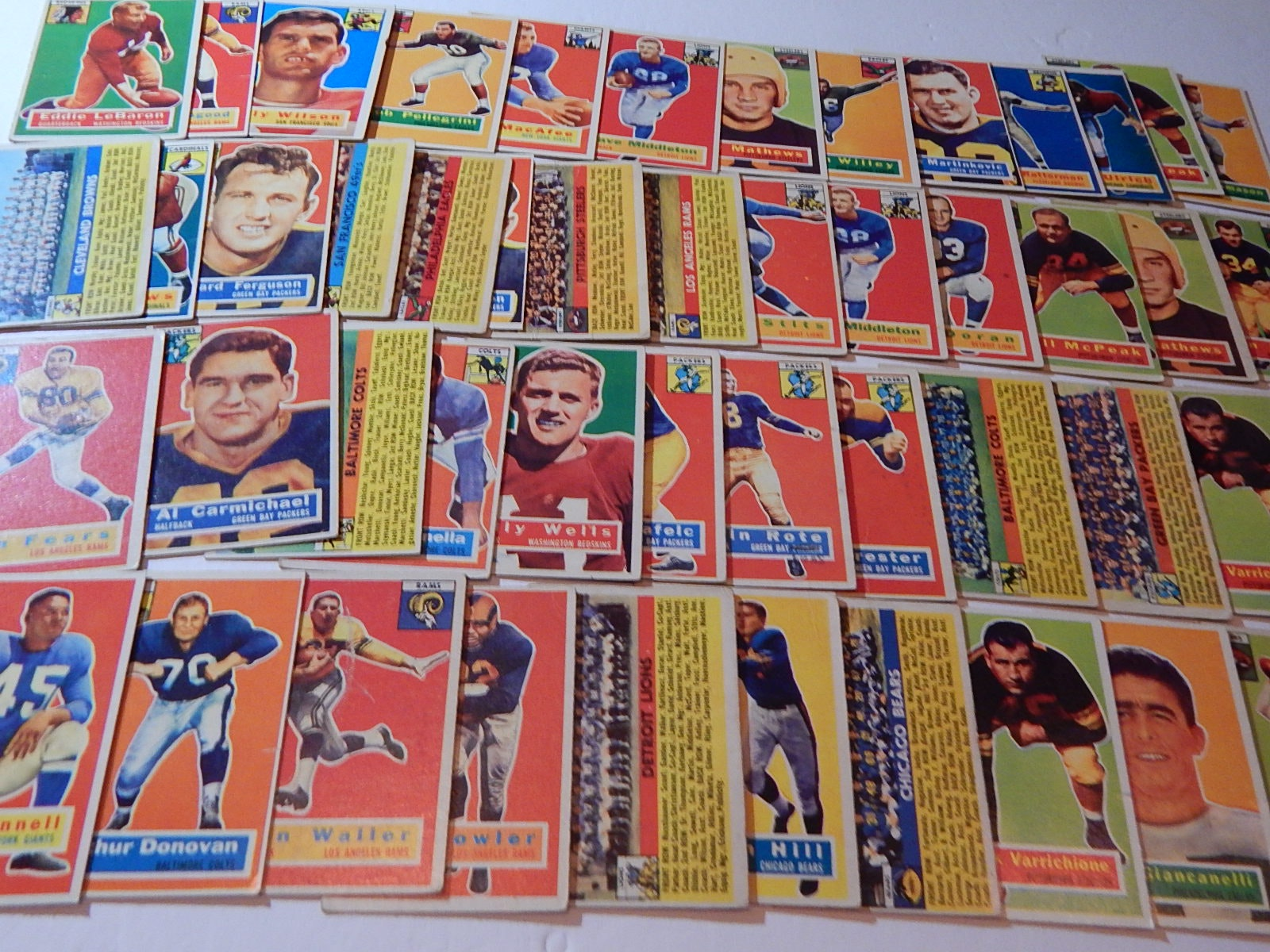 1956 Topps Football Card Collection with HOF, Stars - 48 Card Count