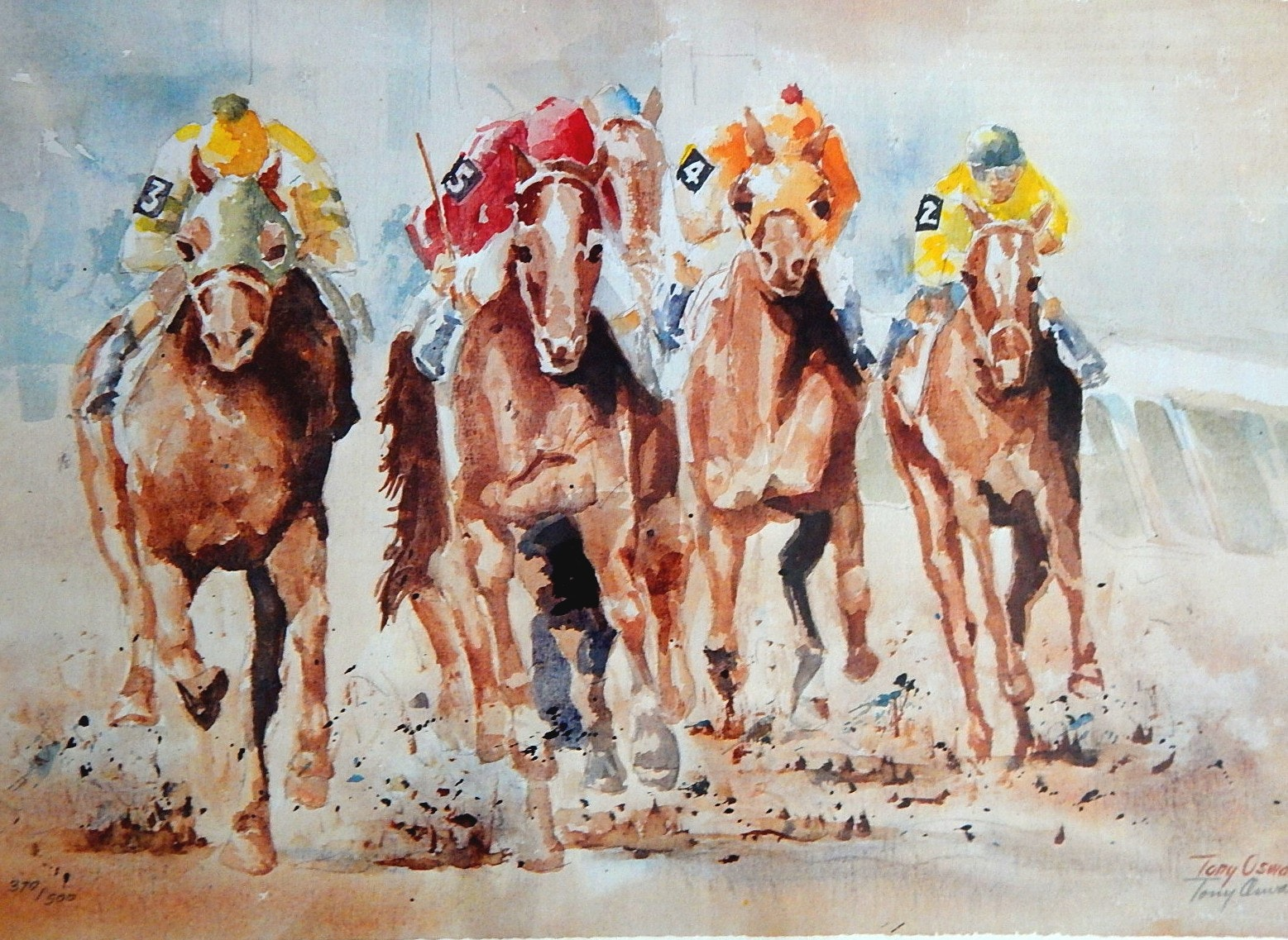 "Unframed Tony Oswald ""Down the Stretch"" Signed Limited Offset Lithograph"