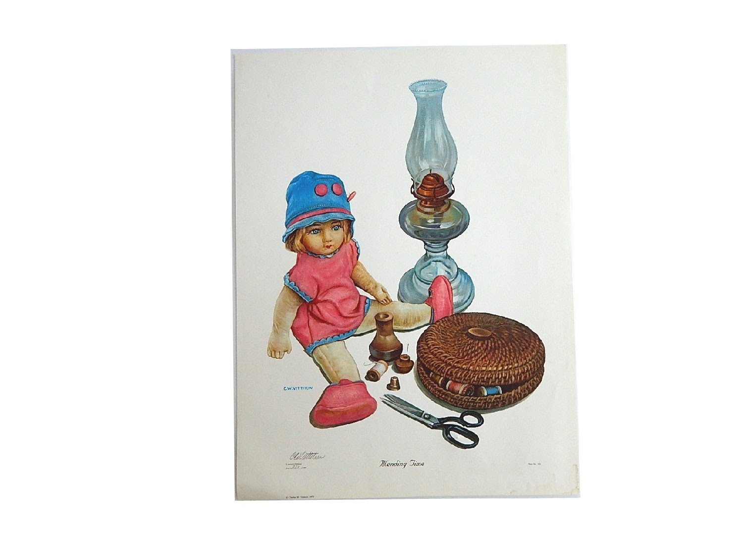 "Unframed 1979 C.W. Vittitow ""Mending Time"" Signed Limited Offset Lithograph"