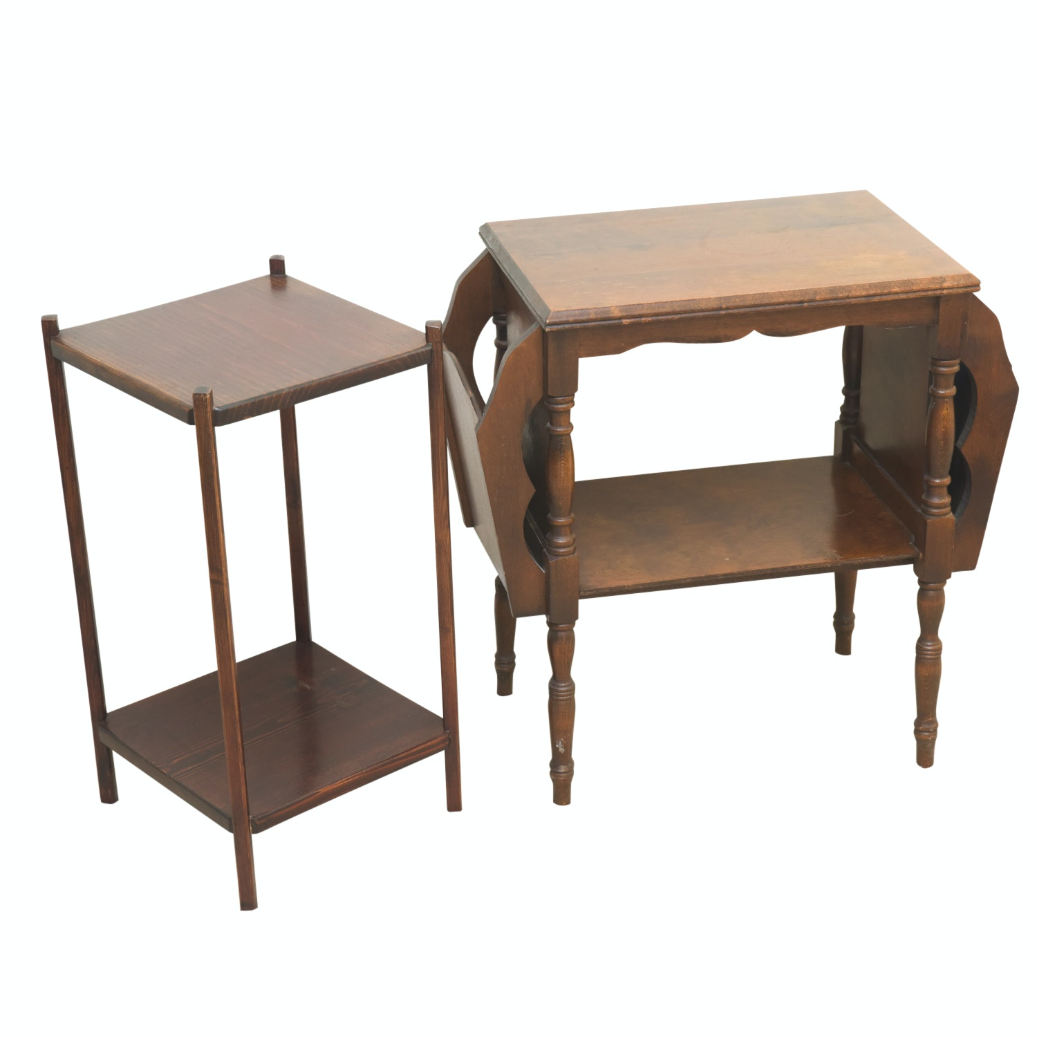 Vintage Two Tier Wooden Side Tables