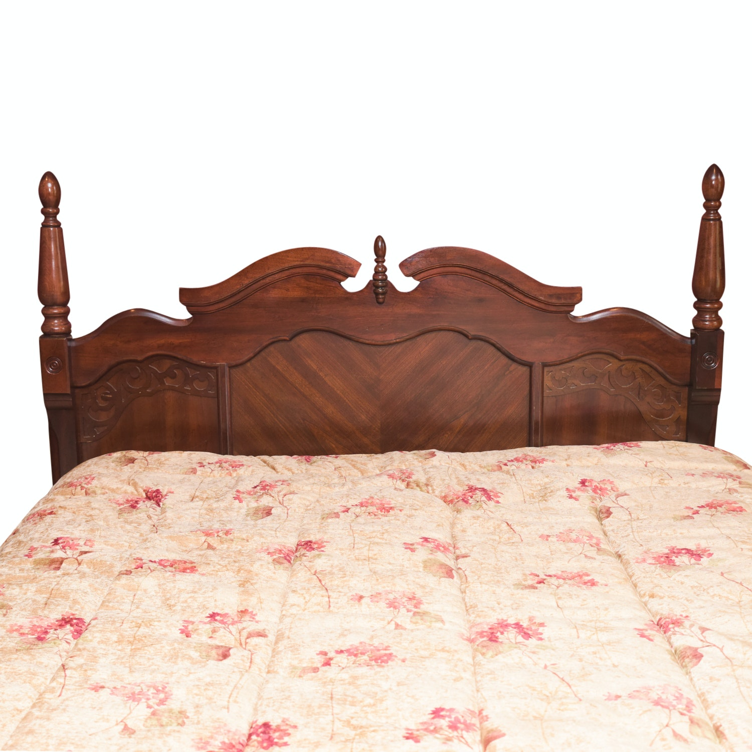 Vintage Chippendale Style Molded and Turned Wooden Queen Size Headboard