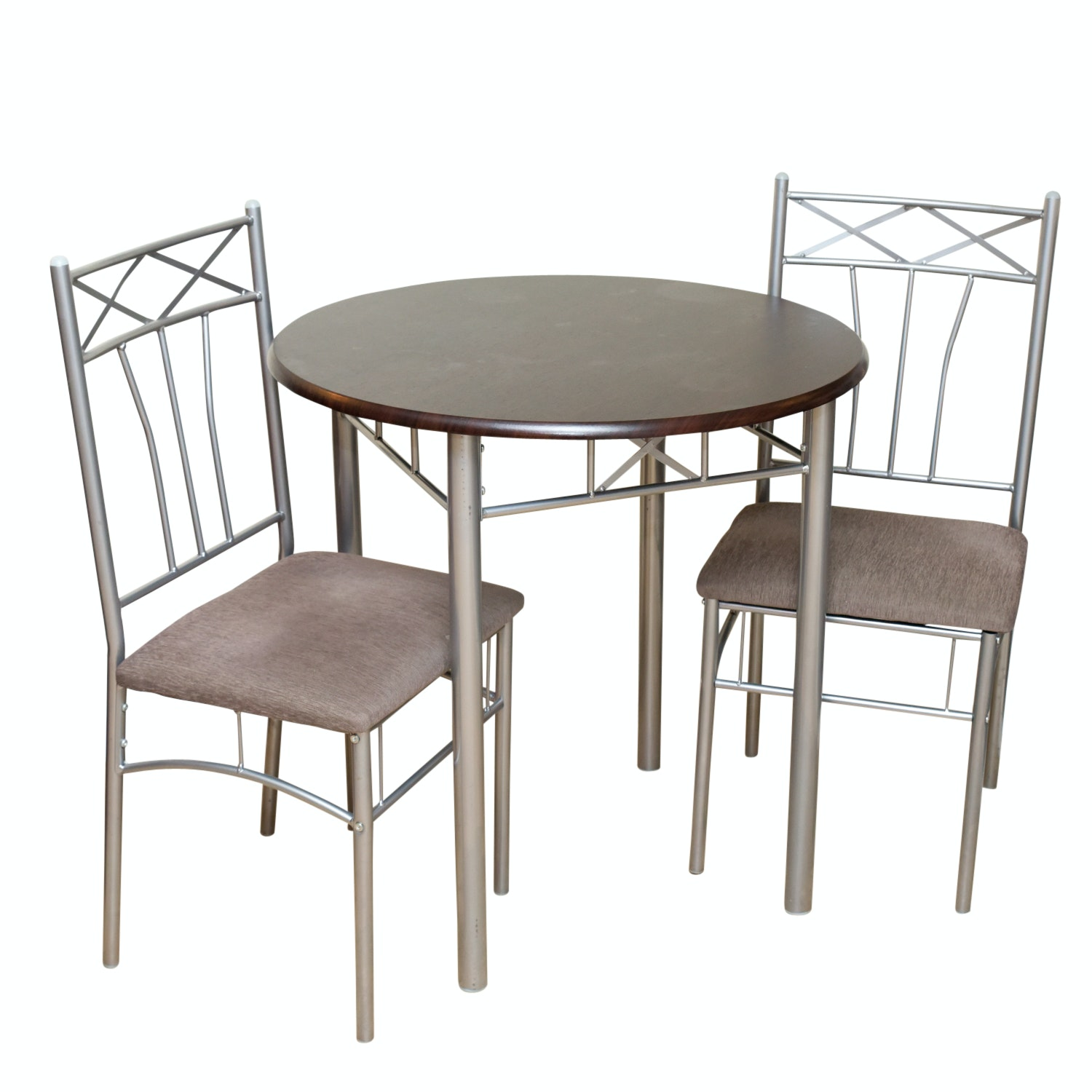 Brushed Chrome Finished Metal and Wood Dinette Set with Two Side Chairs