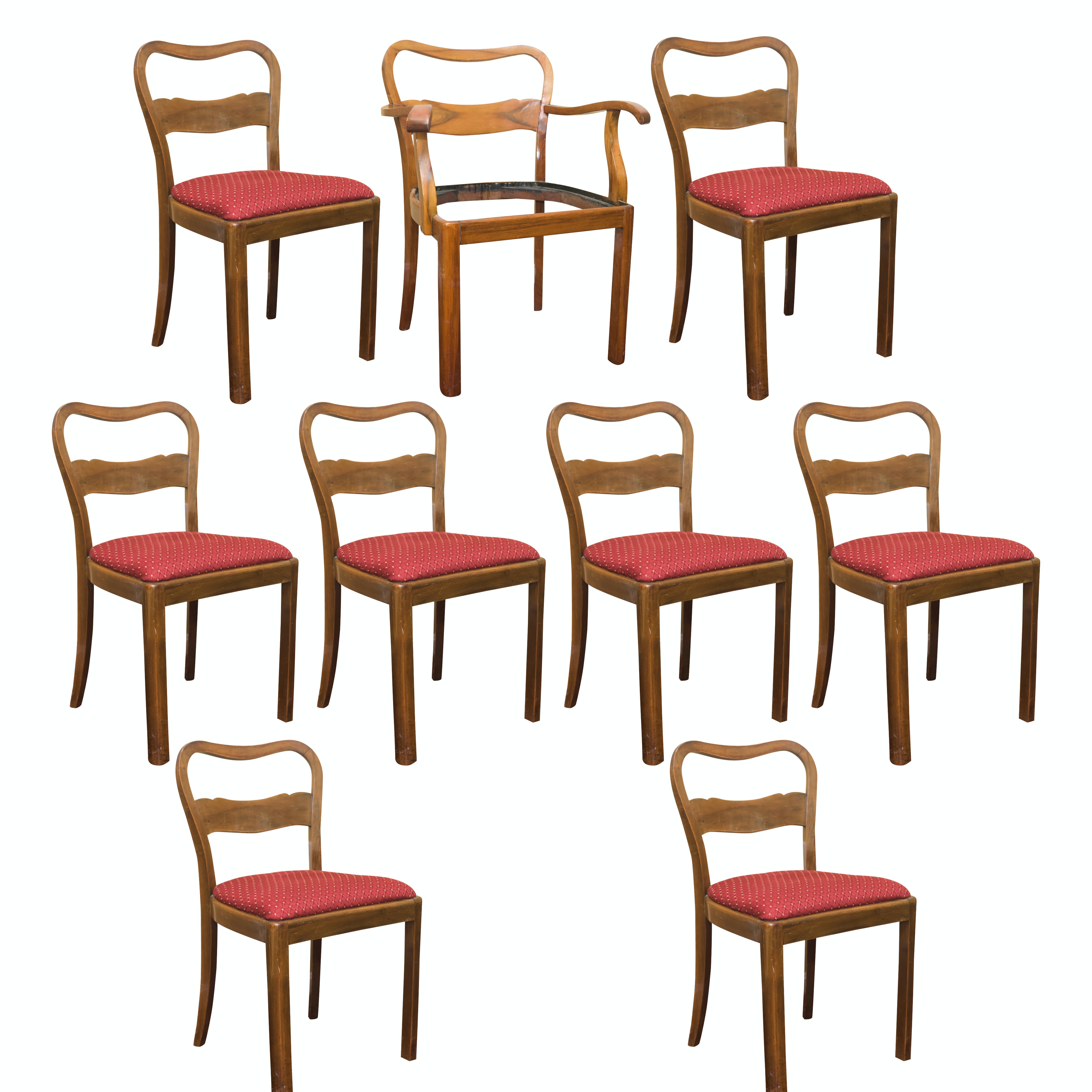 Vintage Wooden Dining Chairs with Upholstered Seats