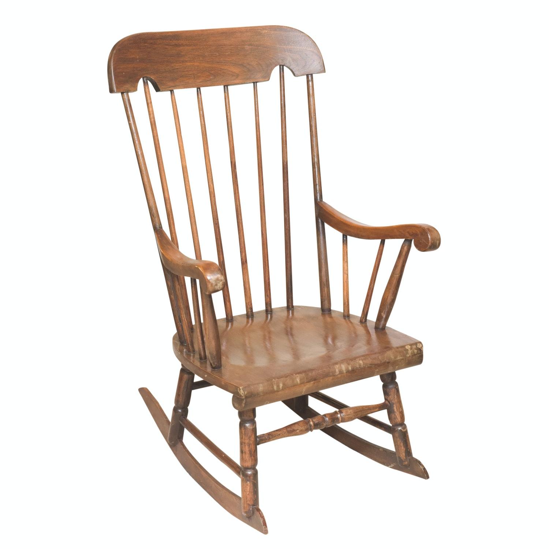 Vintage Wooden Spindle Back Rocking Chair