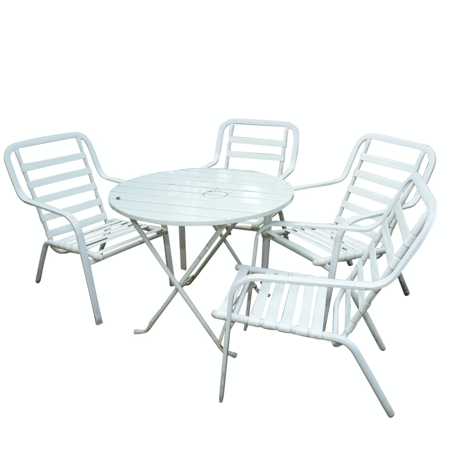 Five-Piece White Metal Patio Set with Seat Cushions