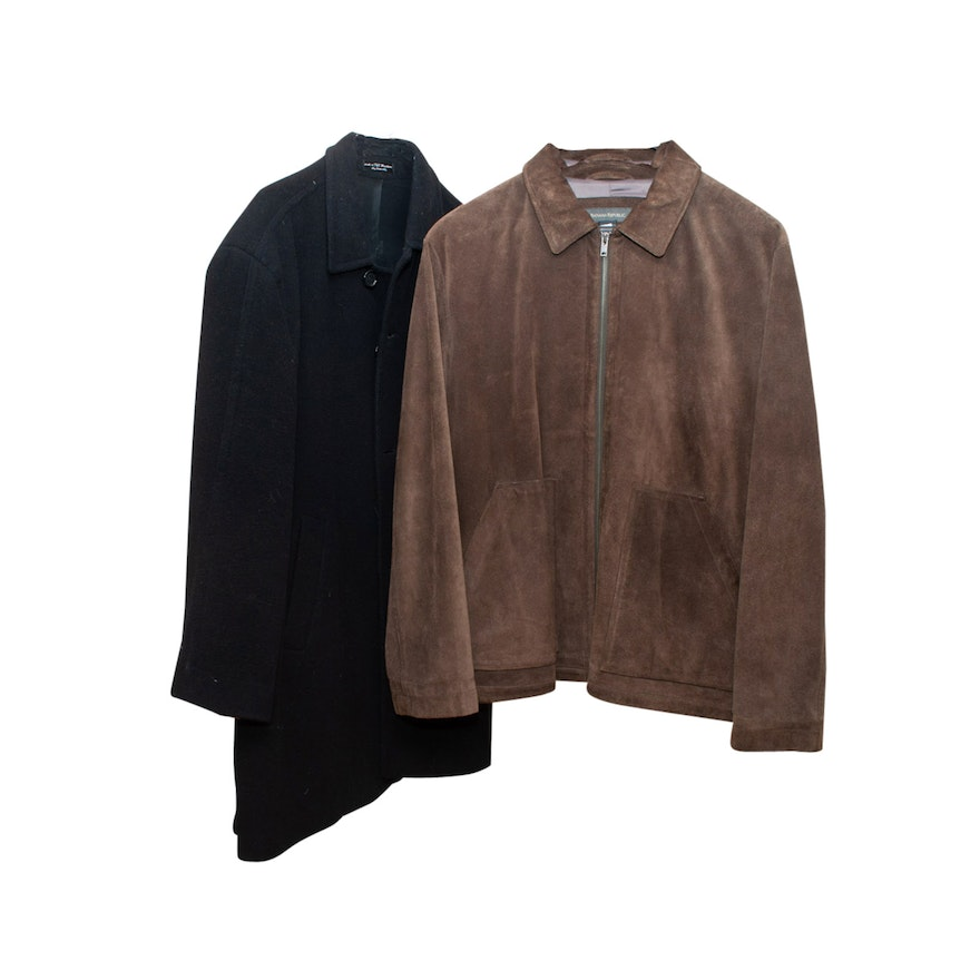 dd53cab98 Men's Andrew Fezza Black Cashmere Blend and Banana Republic Brown Suede  Jackets