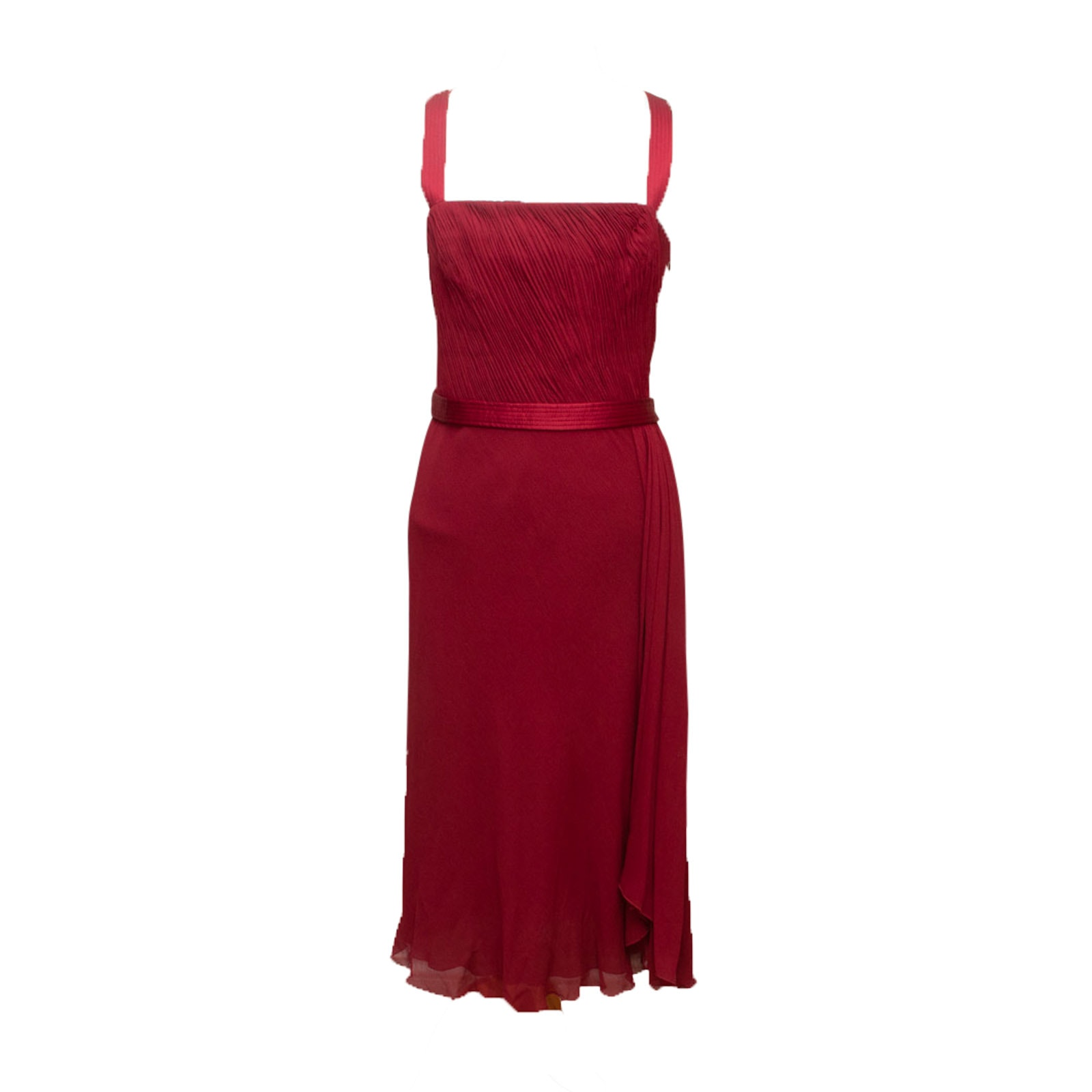 Armani Collezioni Red Silk Sleeveless Cocktail Dress