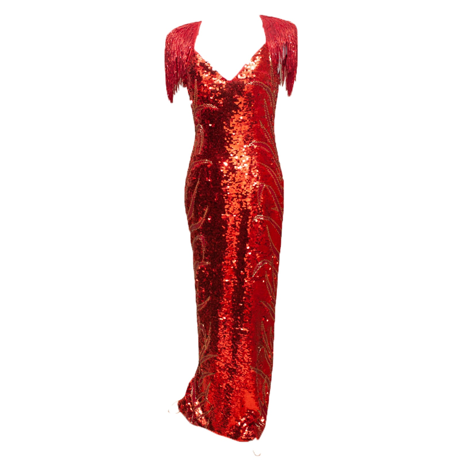 Landa Beaded and Sequined Red Silk Evening Gown