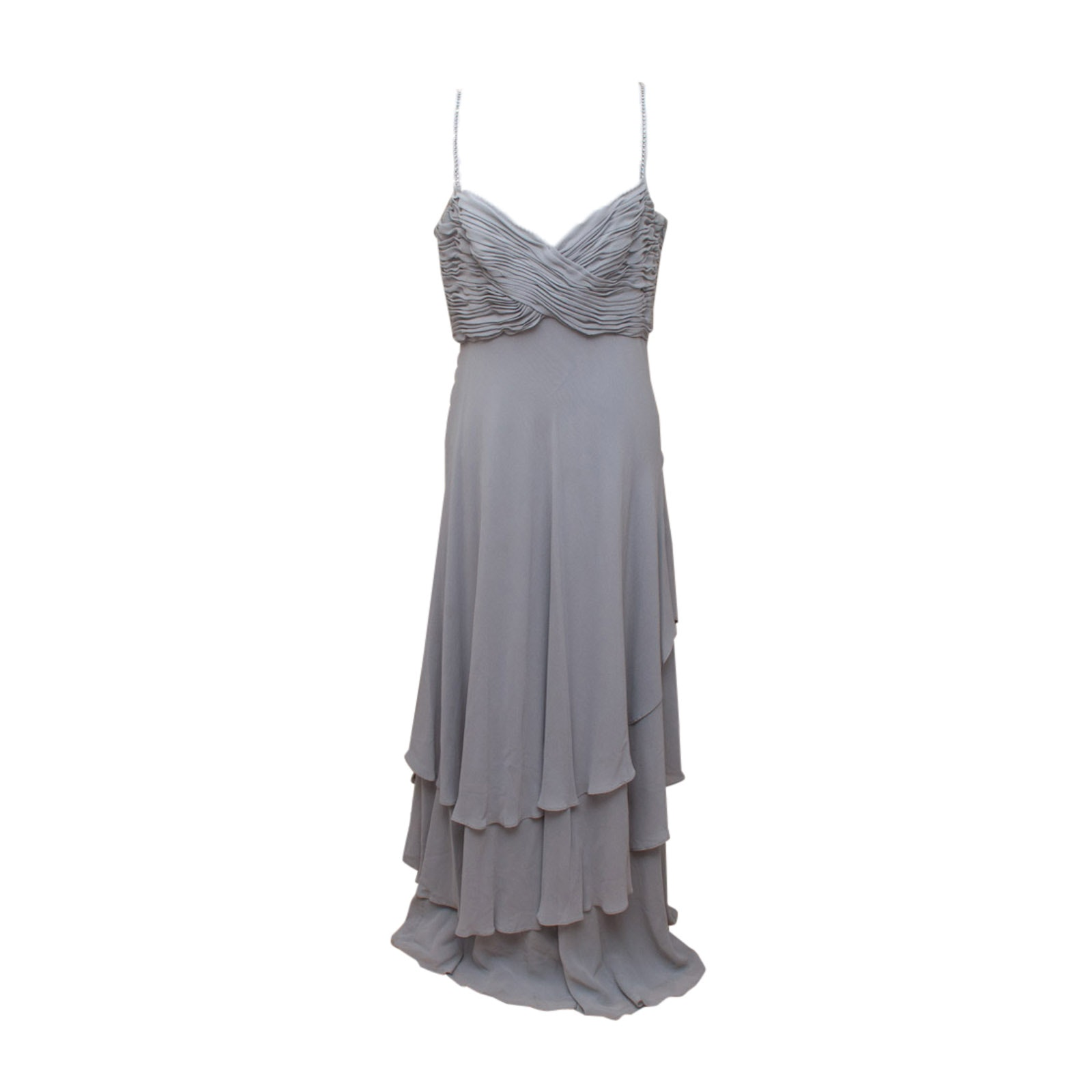 Escada Couture Gray Silk Chiffon Sleeveless Evening Gown with Rhinestone Straps