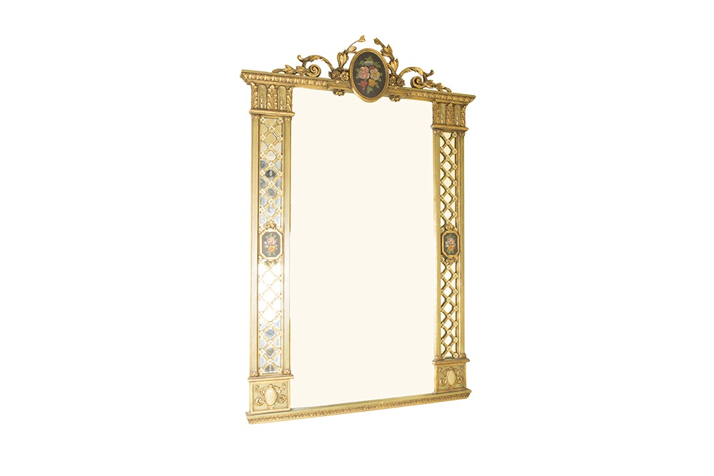 French-Garden Themed Painted Wooden Framed Wall Mirror