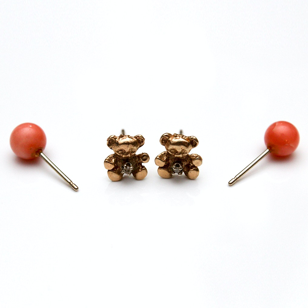 14K Yellow Gold Diamond Bear Earrings and Coral Earrings