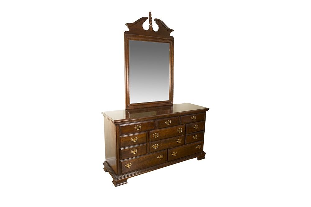Vintage Chippendale Style Mahogany Dresser and Mirror by Kincaid