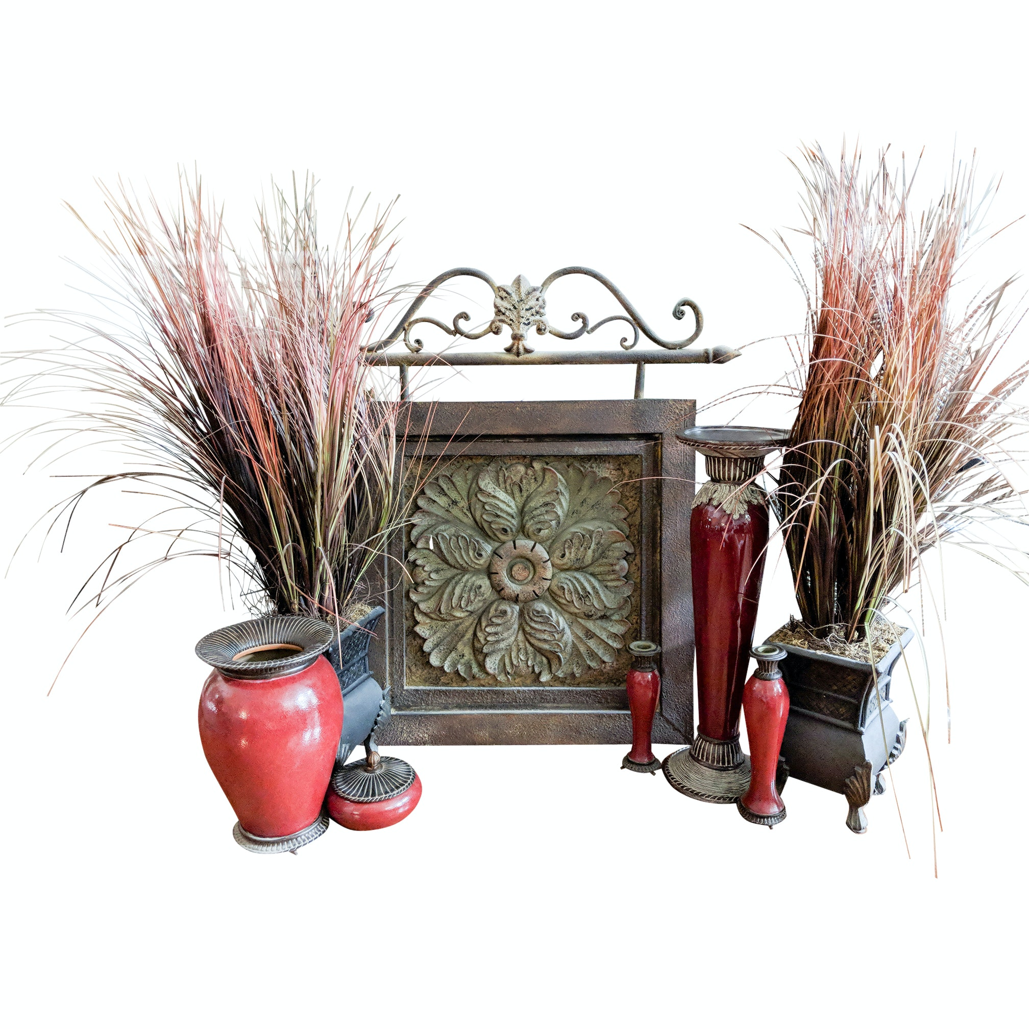 Tin Wall Art, Grass Planters and Fitz and Floyd Decor Set