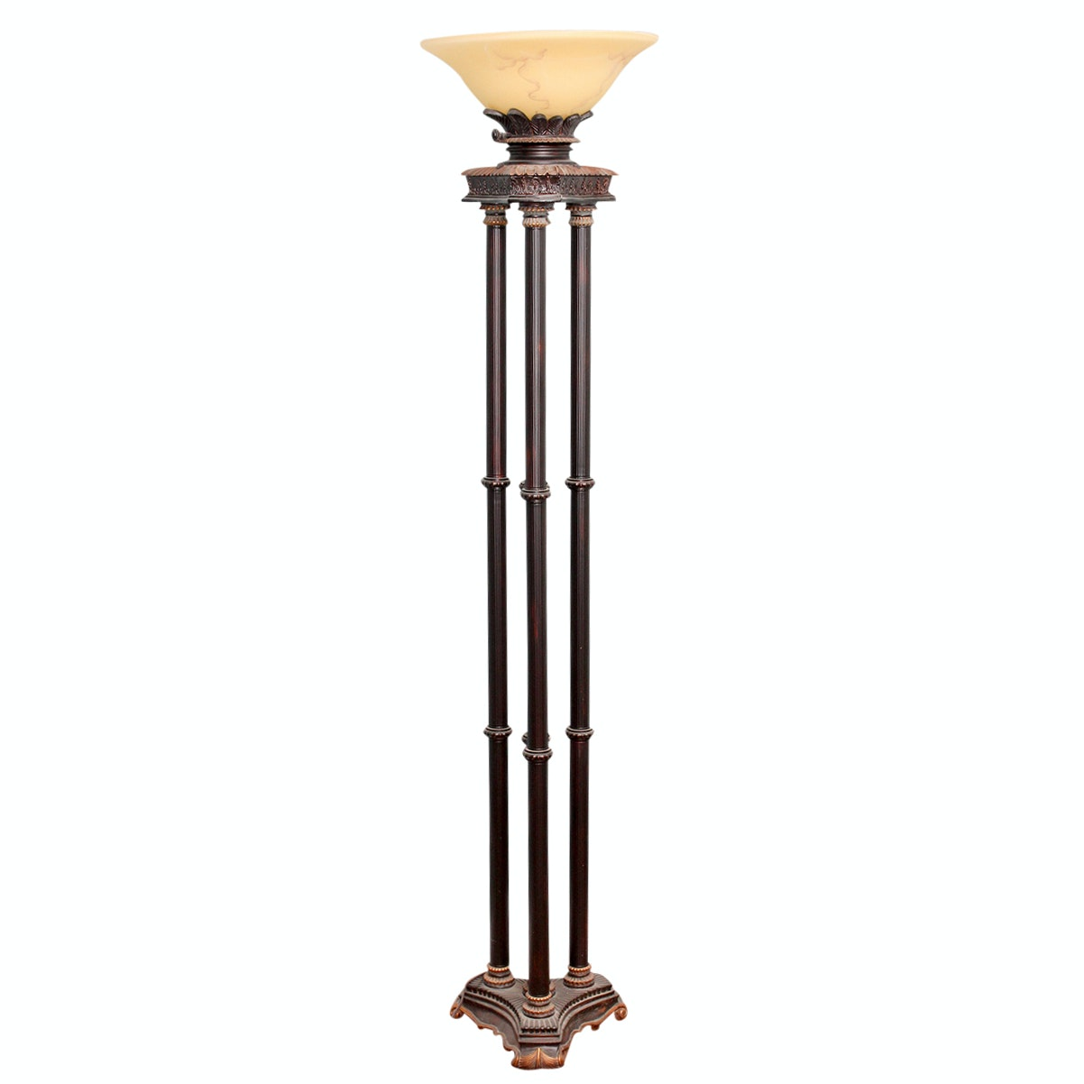 Torchiere Floor Lamp with Oil Rubbed Bronze Tone Columns
