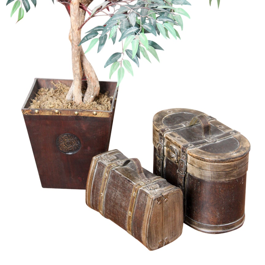 Artificial Fica Plant and Leather and Wood Vintage Style Storage Boxes