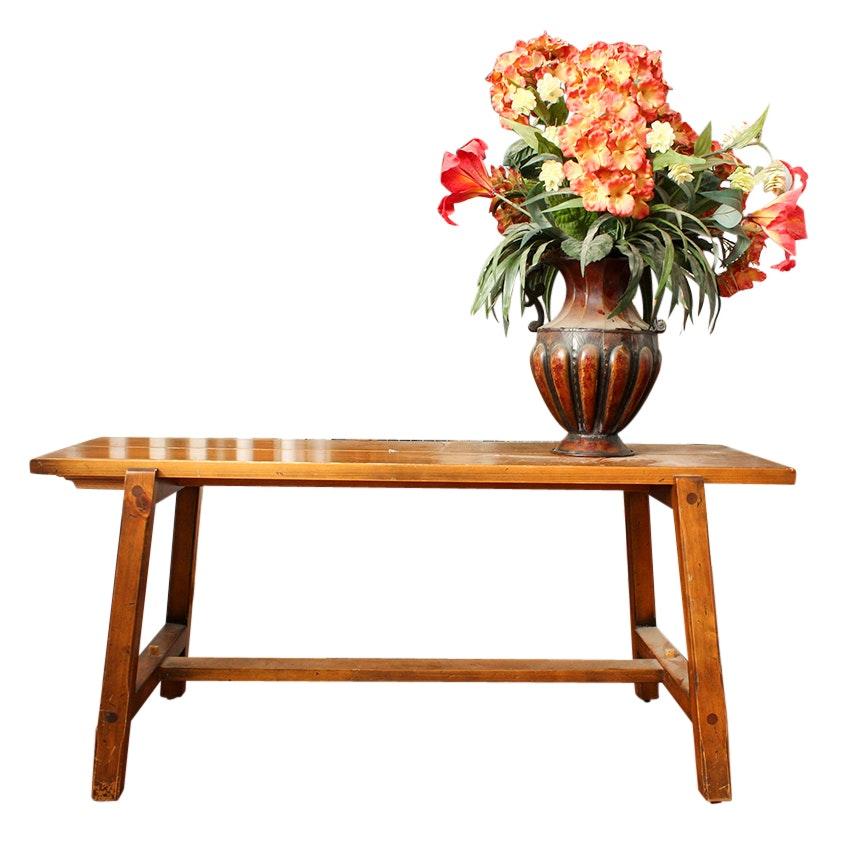 Ballard Designs Primitive Style Bench and Tin Urn Vase with Hydrangeas
