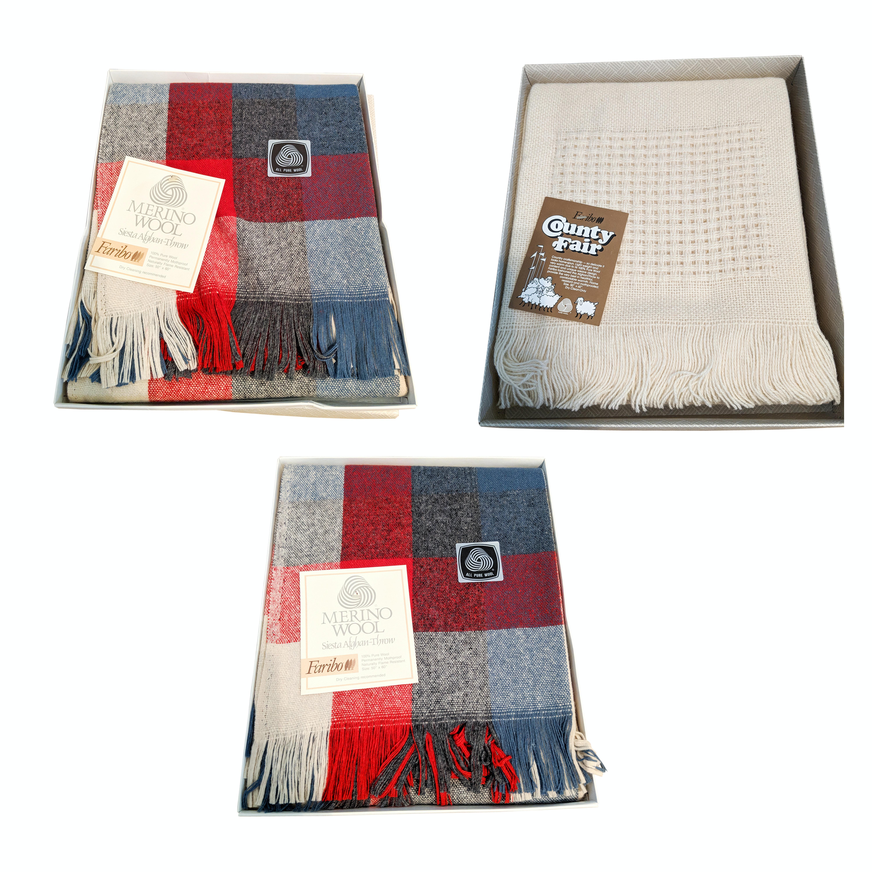 Vintage Fabrino Wool Tartan Afghan Blankets