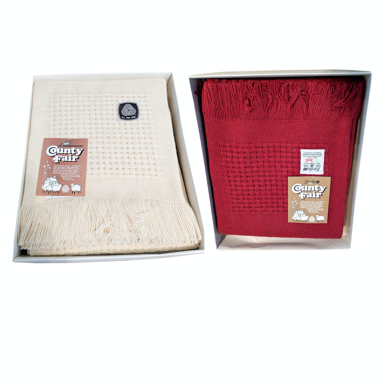 Three Vintage Faribo Wool Afghan Blankets