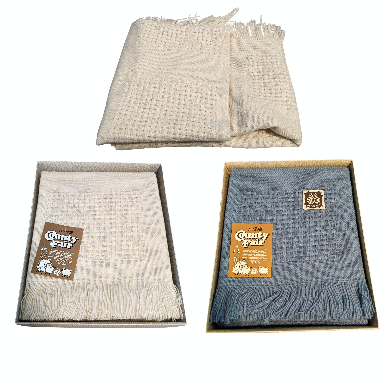 Three Vintage Fabrino Woven Wool Afghan Blankets
