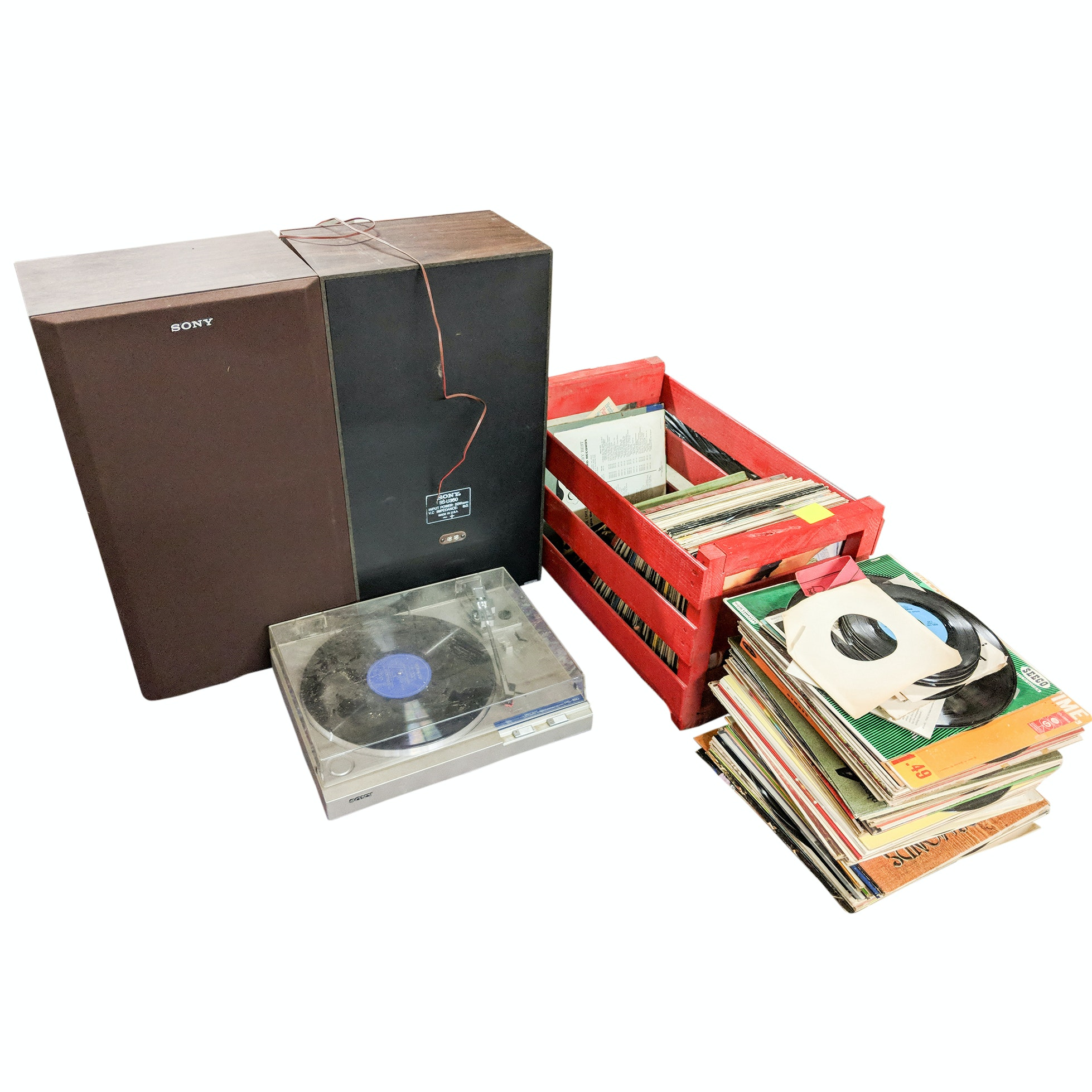 Sony PS-150 Turntable, Speakers and Over 100 Rock and Vinyl Albums