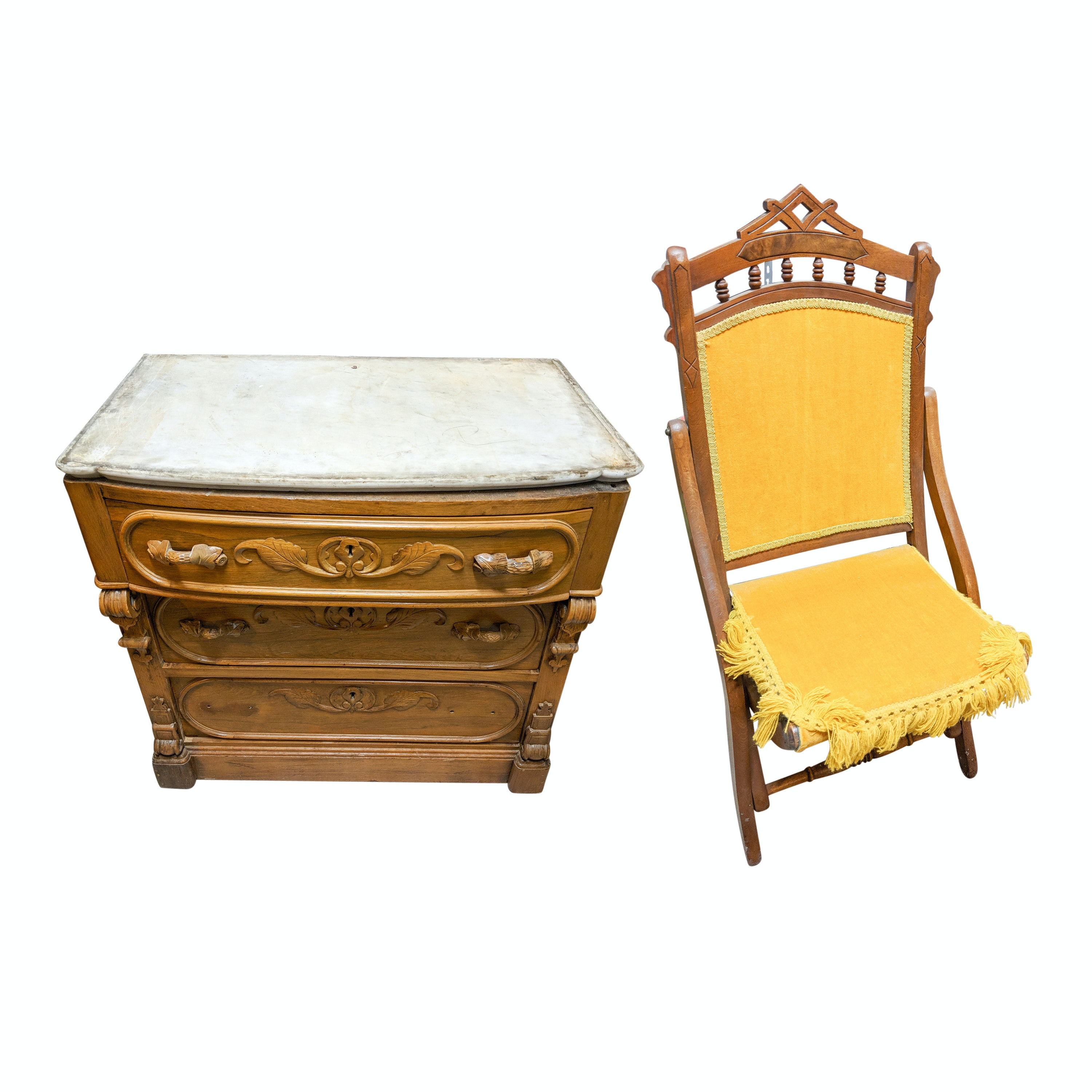 Antique Carved Wood Marble Top Chest and Vintage Carved Wood Folding Chair