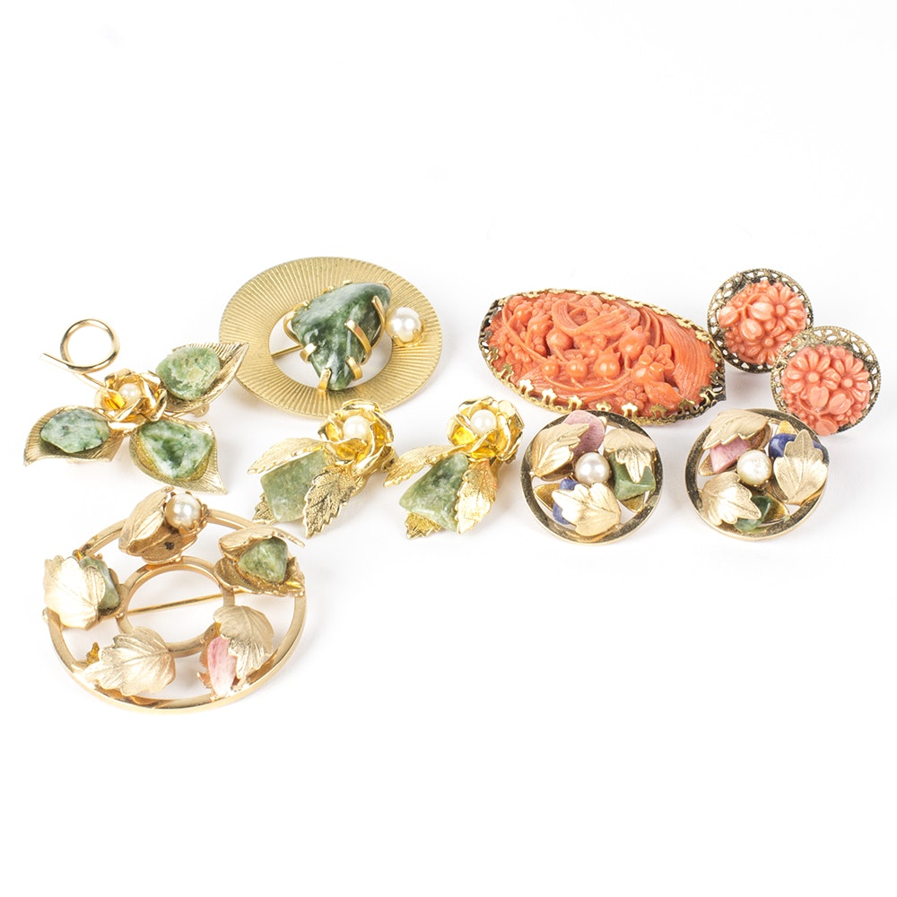 Gold Toned Brooch and Earring Costume Sets