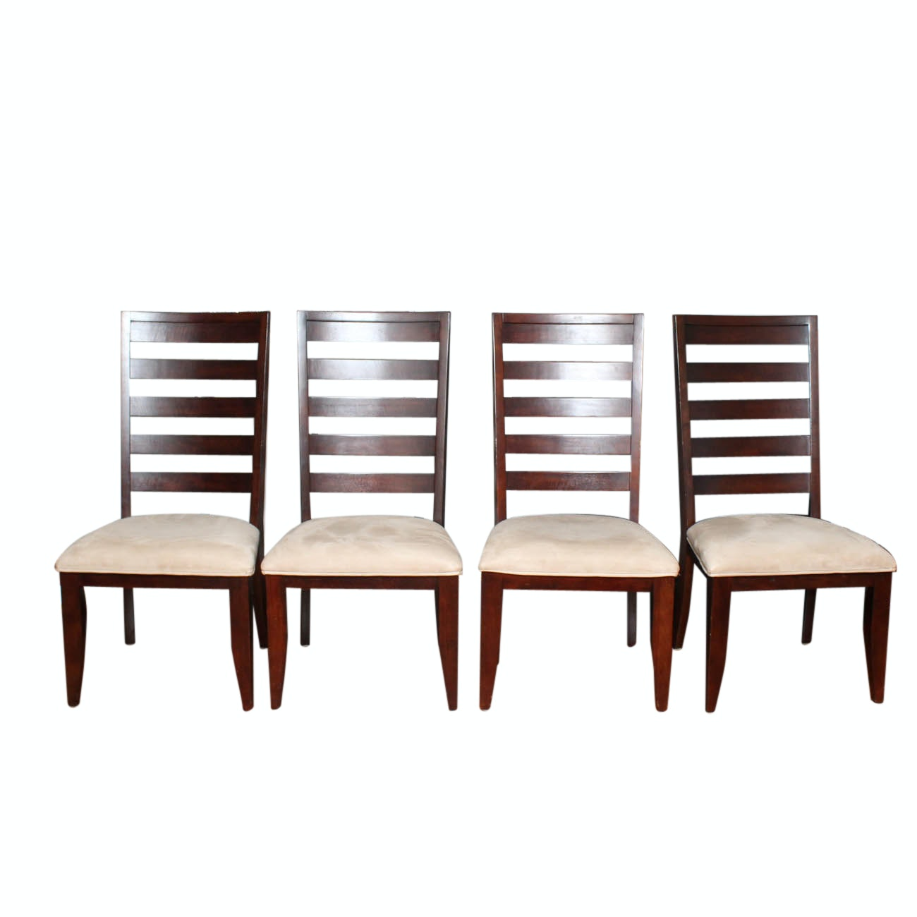 Eight Contemporary Ladder Back Dining Chairs