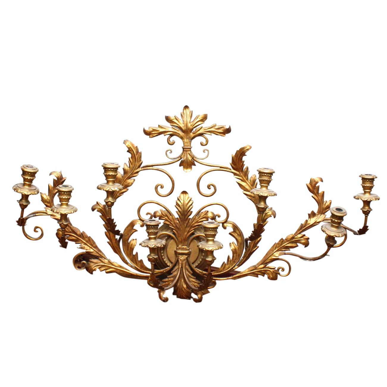 Brass and Wood Foliate Wall Sconce