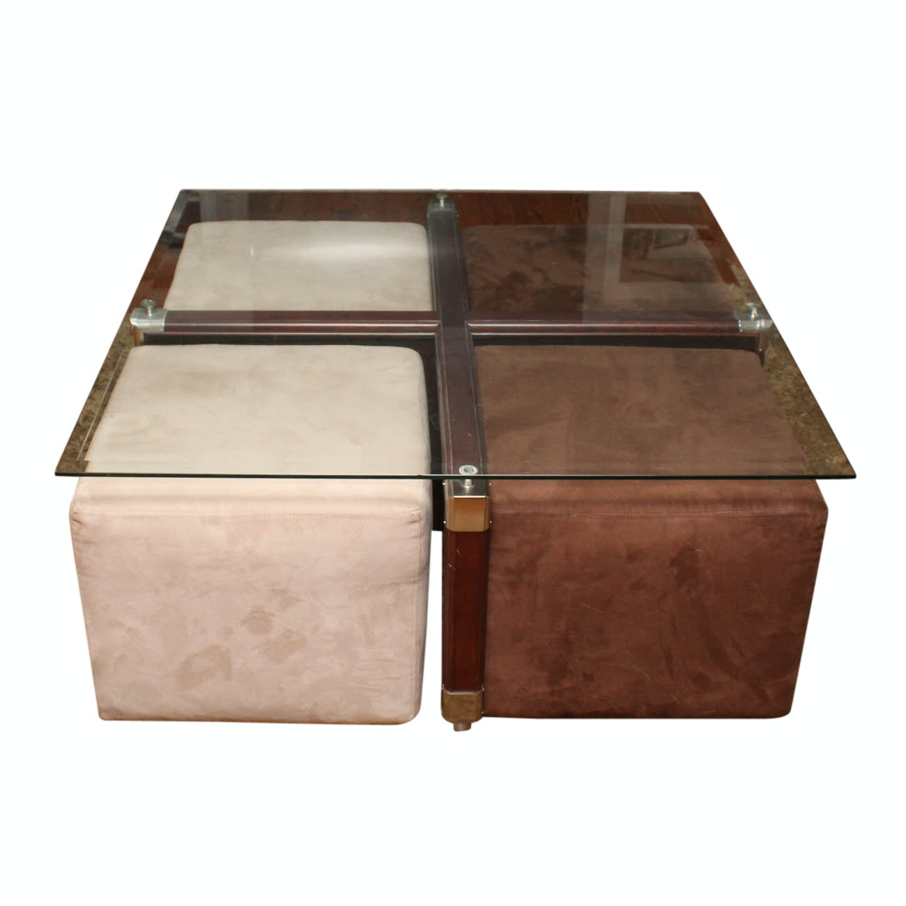 Sofa Express Glass Coffee Table with Stools
