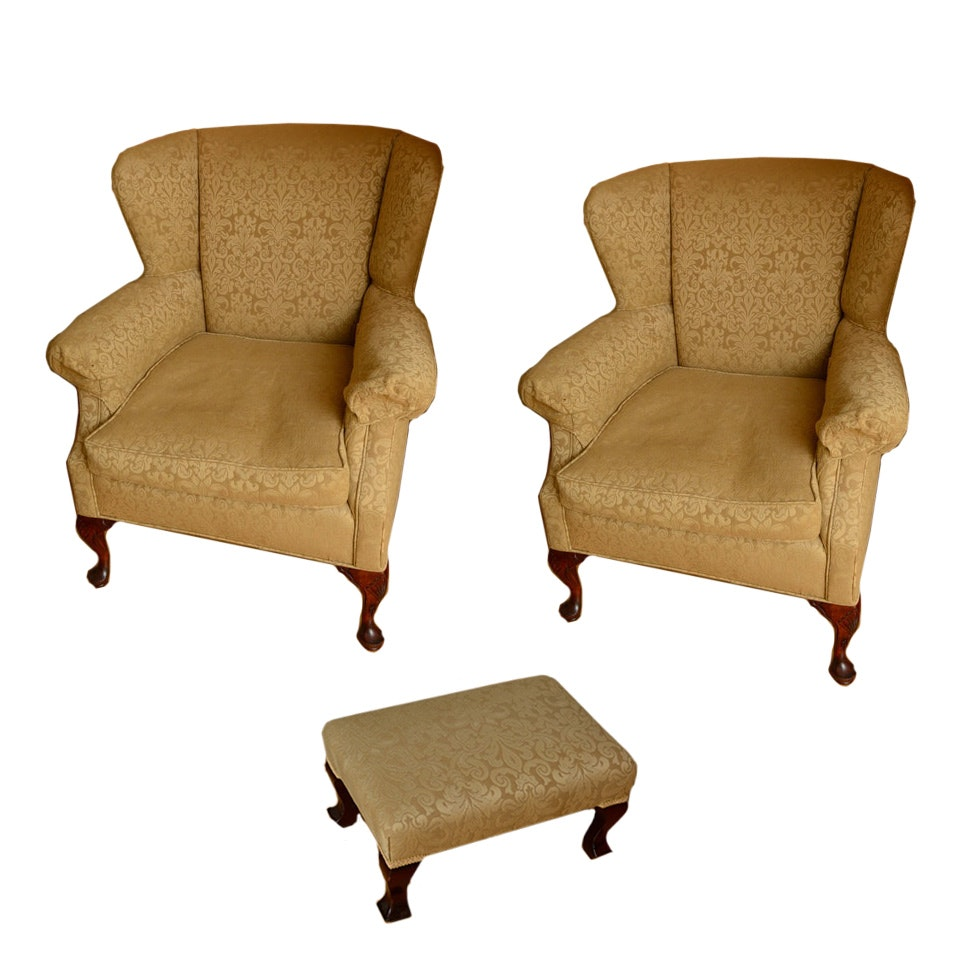 Upholstered Wingback Chairs and Footstool