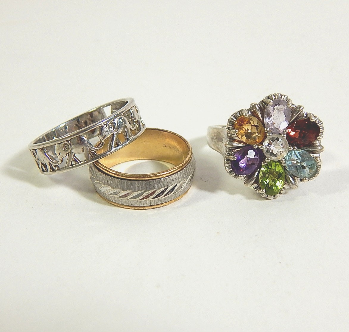 Three Sterling Silver Rings