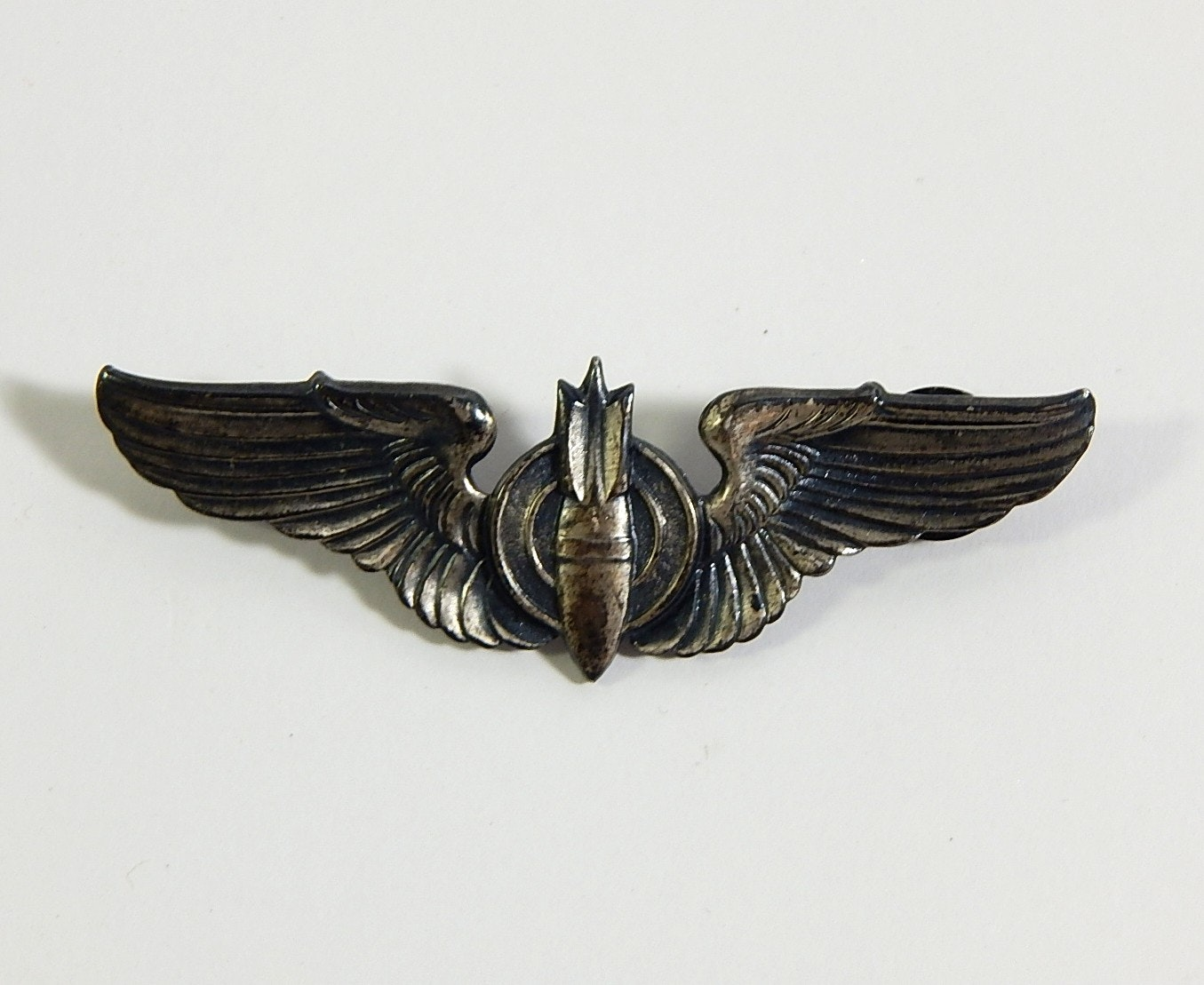 WWII Sterling Silver Bombardier Wings Pin