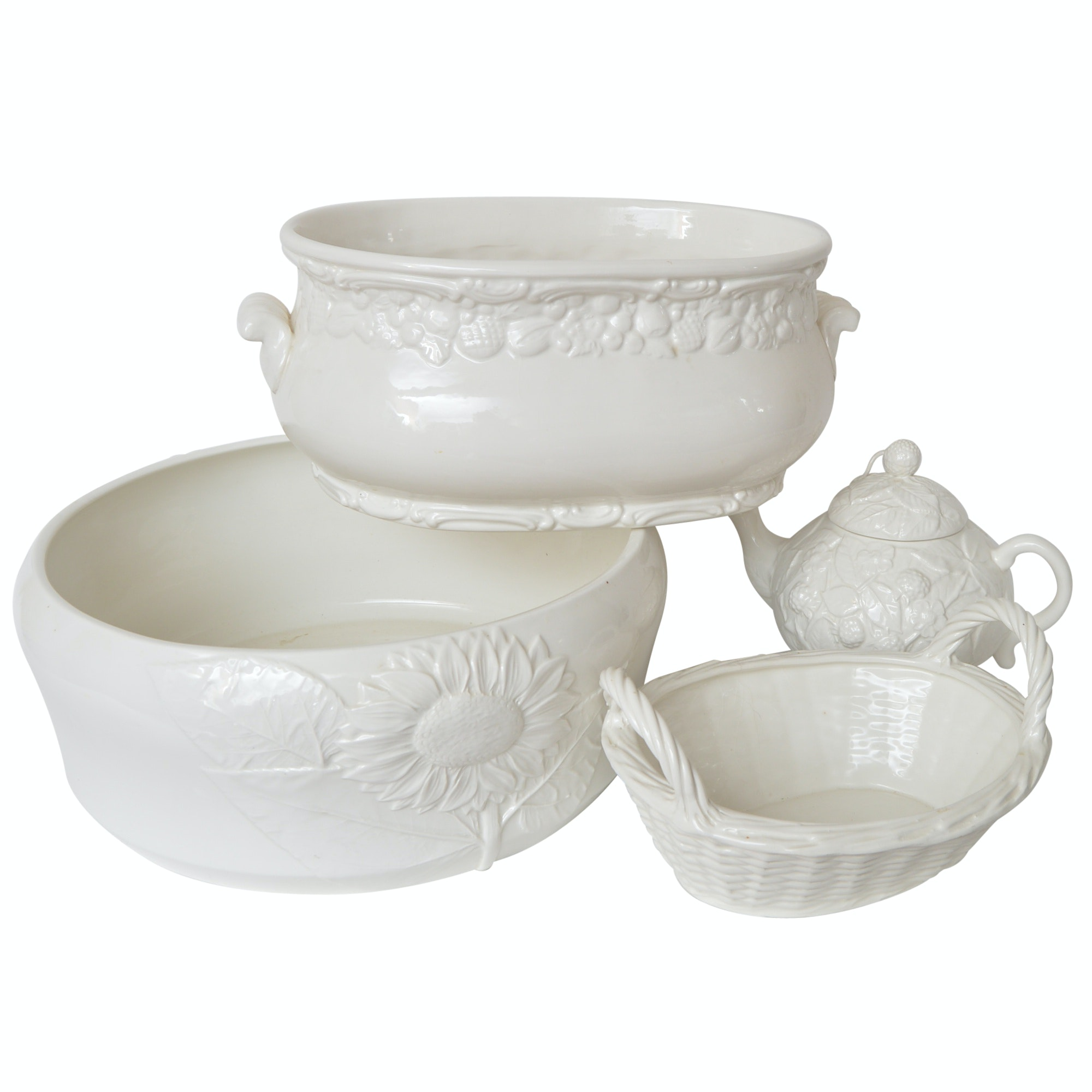 Italian Ceramic Pottery with Bowls and Teapot