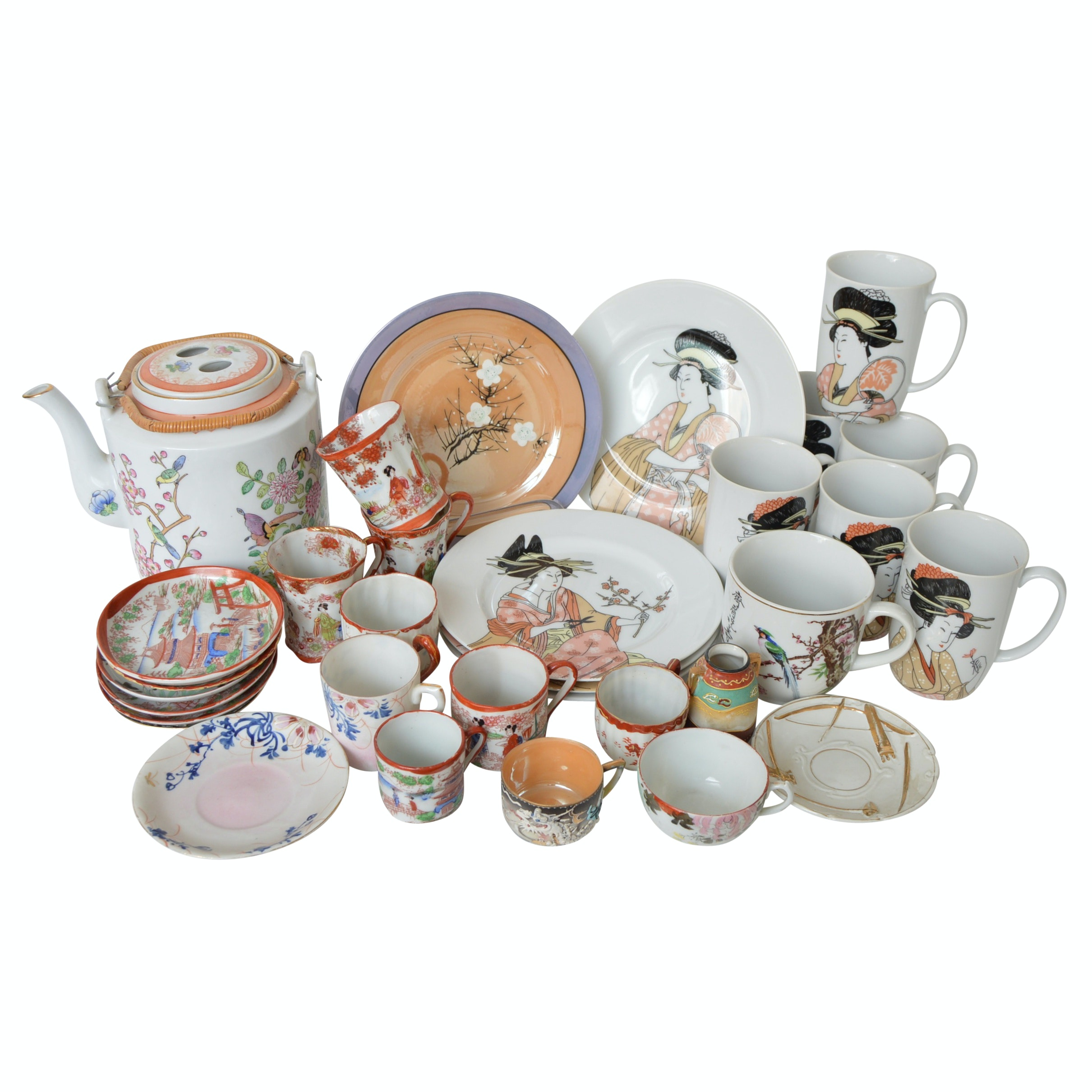 Vintage Japanese China Collection with Teapot