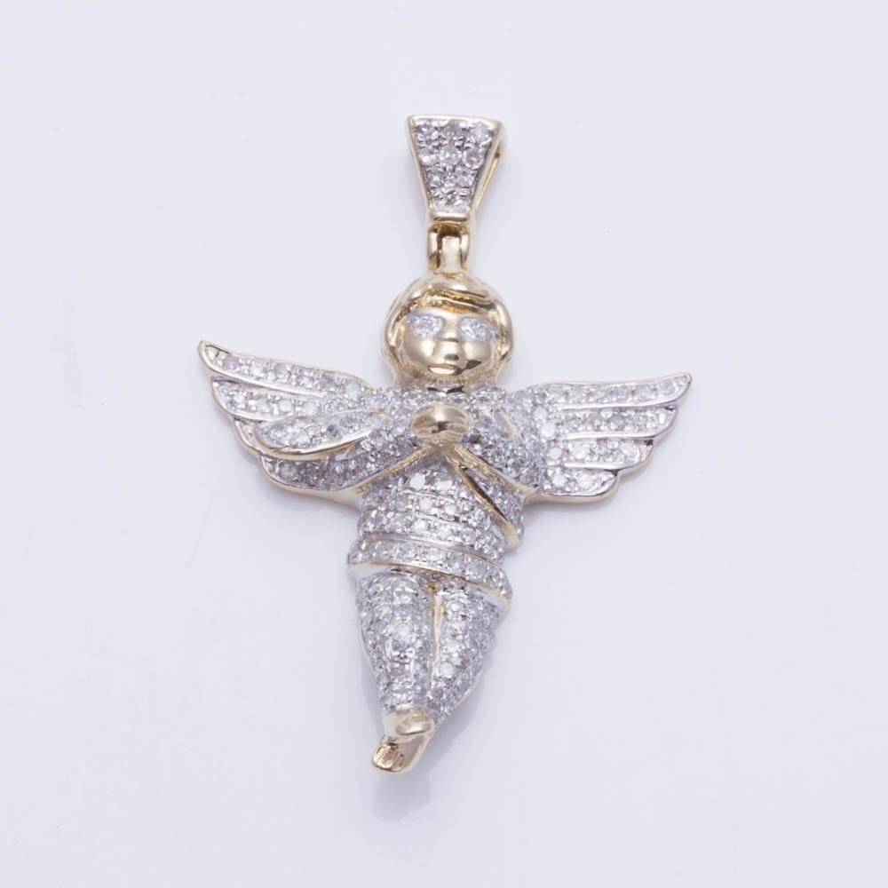 10K Yellow Gold Diamond Angel Pendant