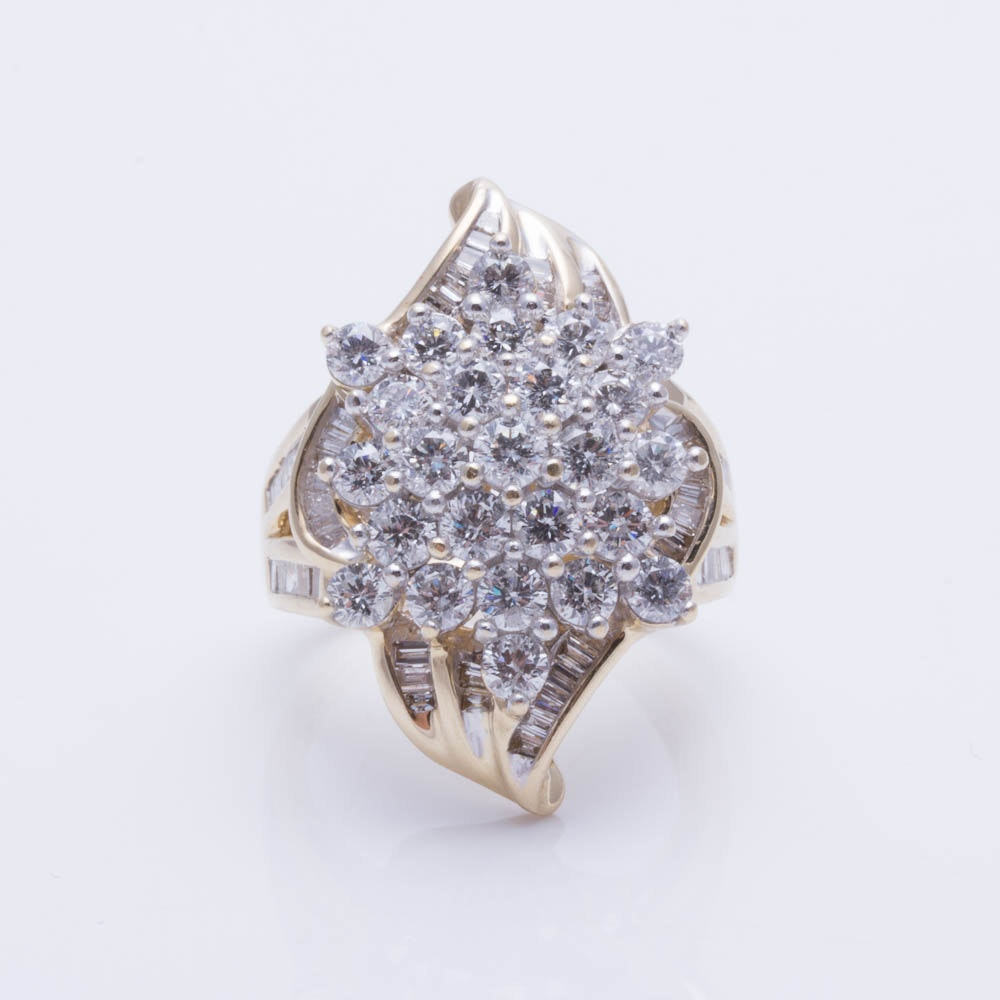 14K Yellow Gold 3.15 CTW Diamond Ring