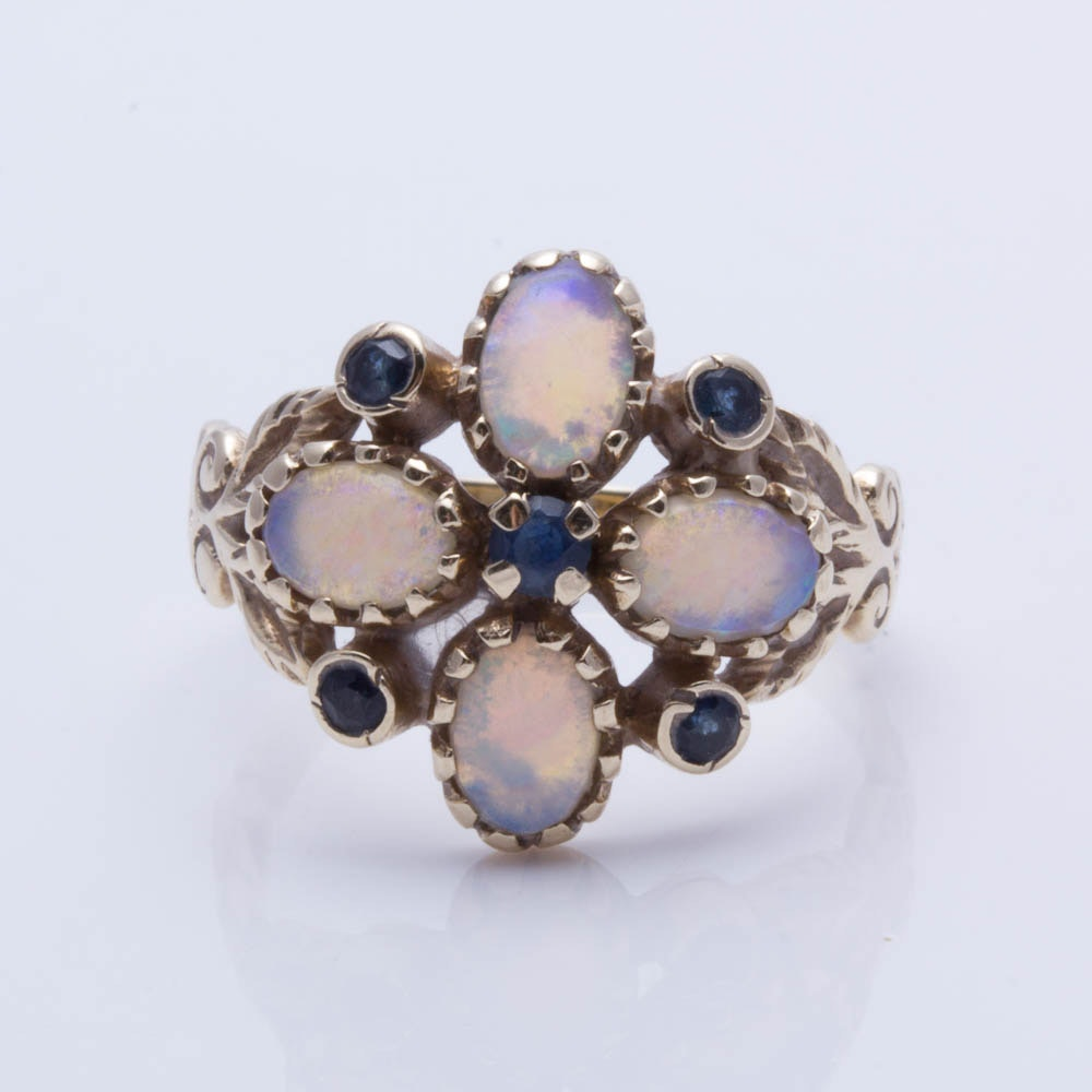 9K Yellow Gold Opal and Sapphire Ring