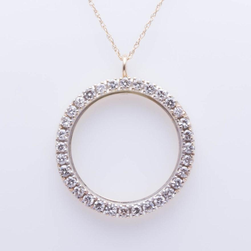 14k yellow gold diamond pendant necklace ebth 14k yellow gold diamond pendant necklace mozeypictures Choice Image