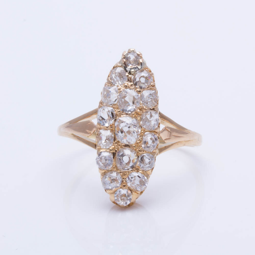 18K and 14K Yellow Gold Old Mine Cut 1.20 CTW Diamond Ring