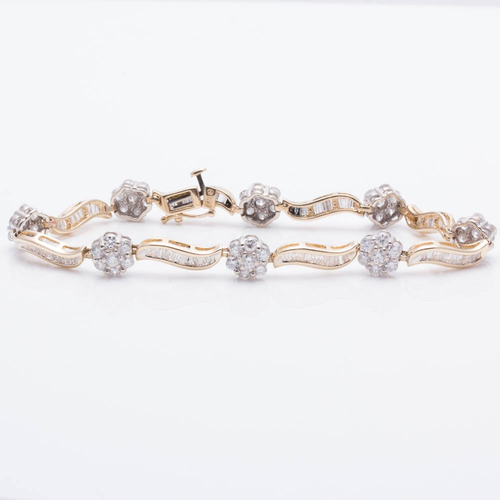 14K Yellow Gold 4.00 CTW Diamond Bracelet
